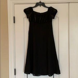 Girls black chiffon sequin detailing dress